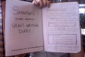 photo of Sam Grace's Grant Writing Journal